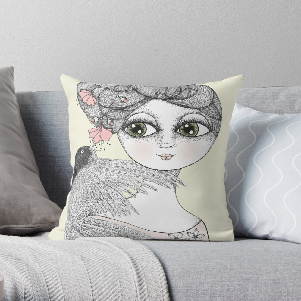 Whisper tweet nothings Throw Pillow