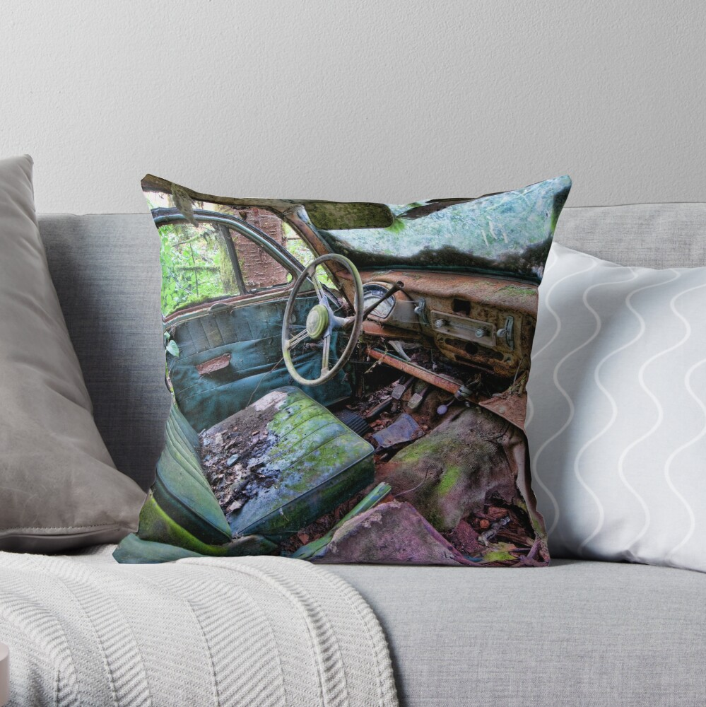 Car in the woods, Front Seat Throw Pillow