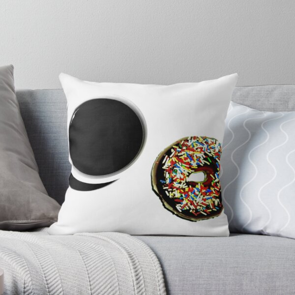 Damn Fine Coffee and Donut Throw Pillow