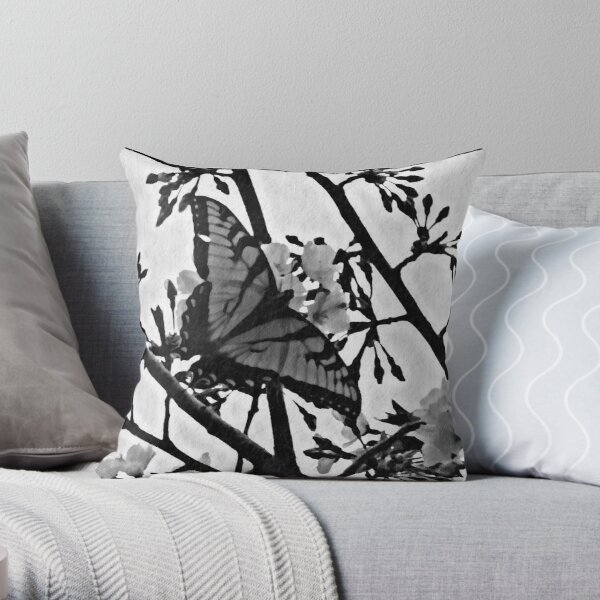 Silouette of a butterfly Throw Pillow