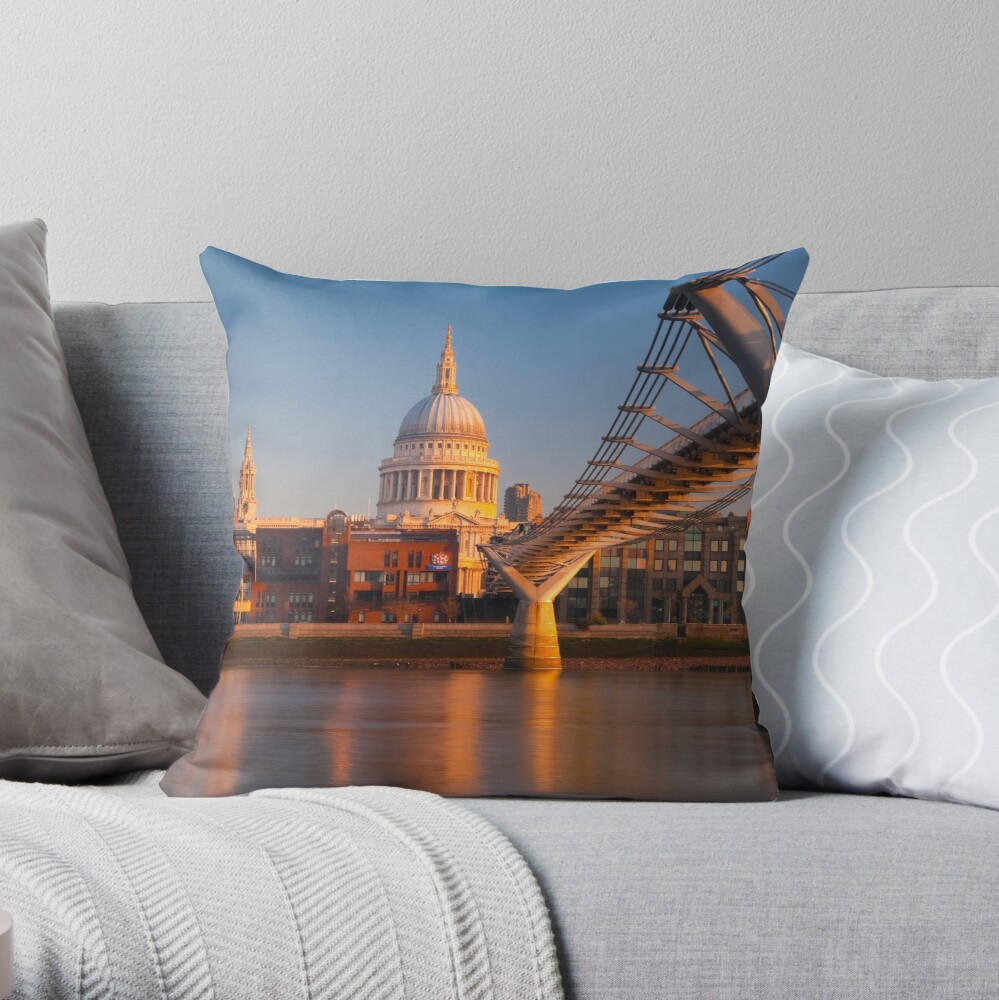 UK, London, St. Paul's Cathedral and Millennium Bridge over River Thames   Alan Copson © 2010 (20046-04) Throw Pillow