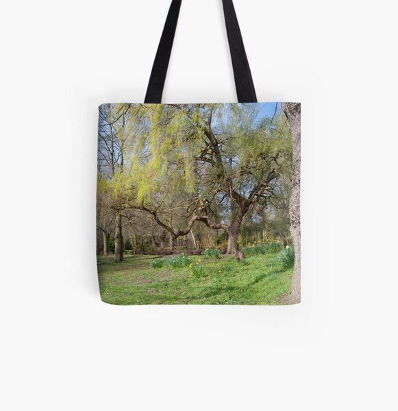 Weeping Willow: Springtime at Bushey Park, Hampton Court, All Over Print Tote Bag