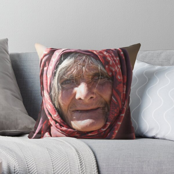Old Woman (afghanistan) Throw Pillow