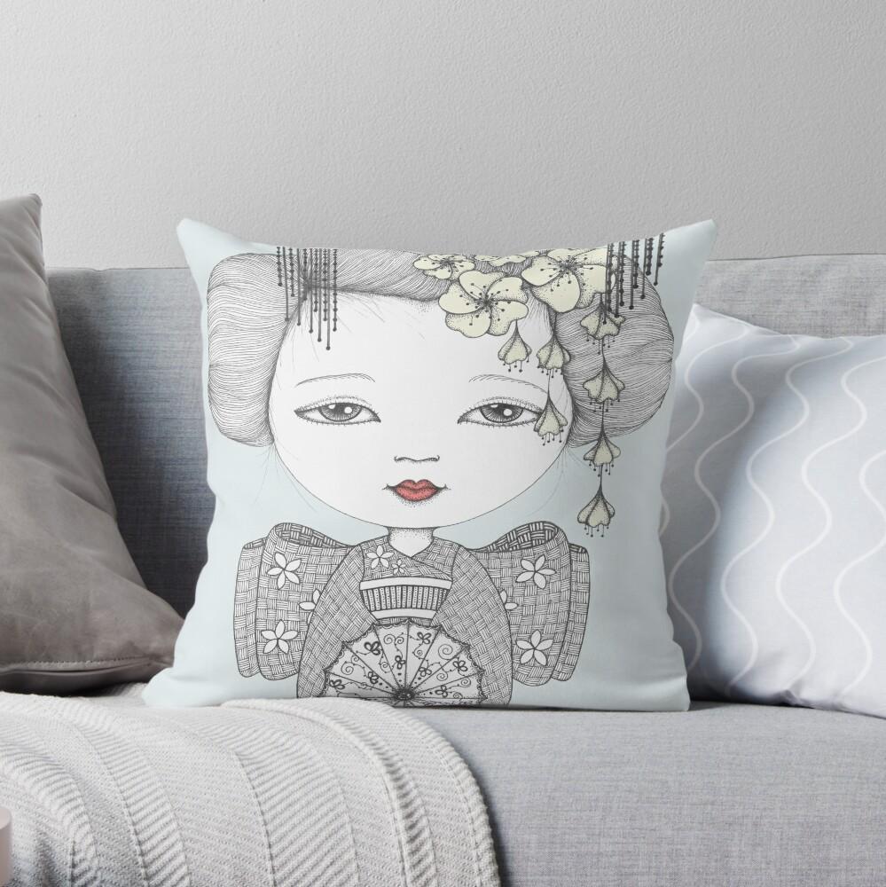 Little Blossom Girl Throw Pillow