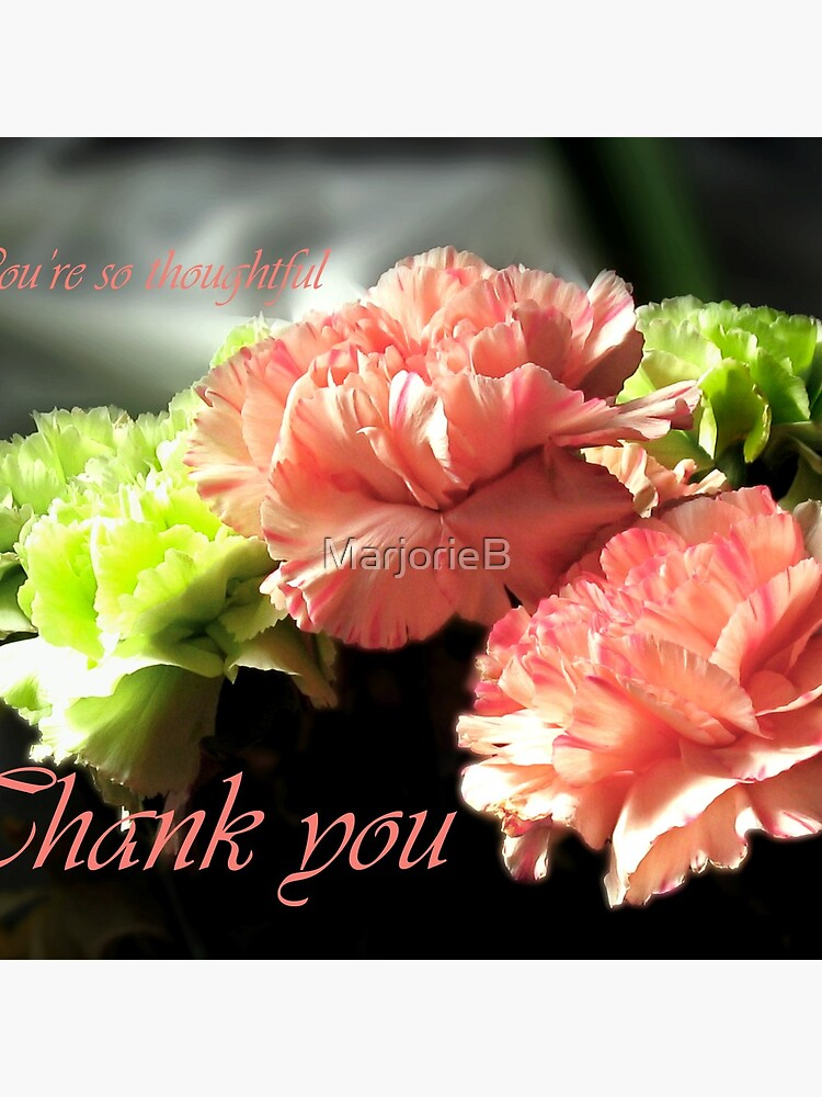 Carnations Thank You Card by MarjorieB