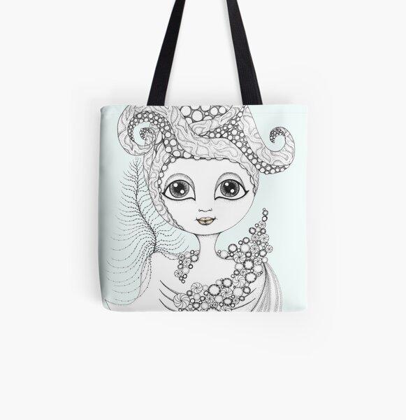 Calamari Queen All Over Print Tote Bag