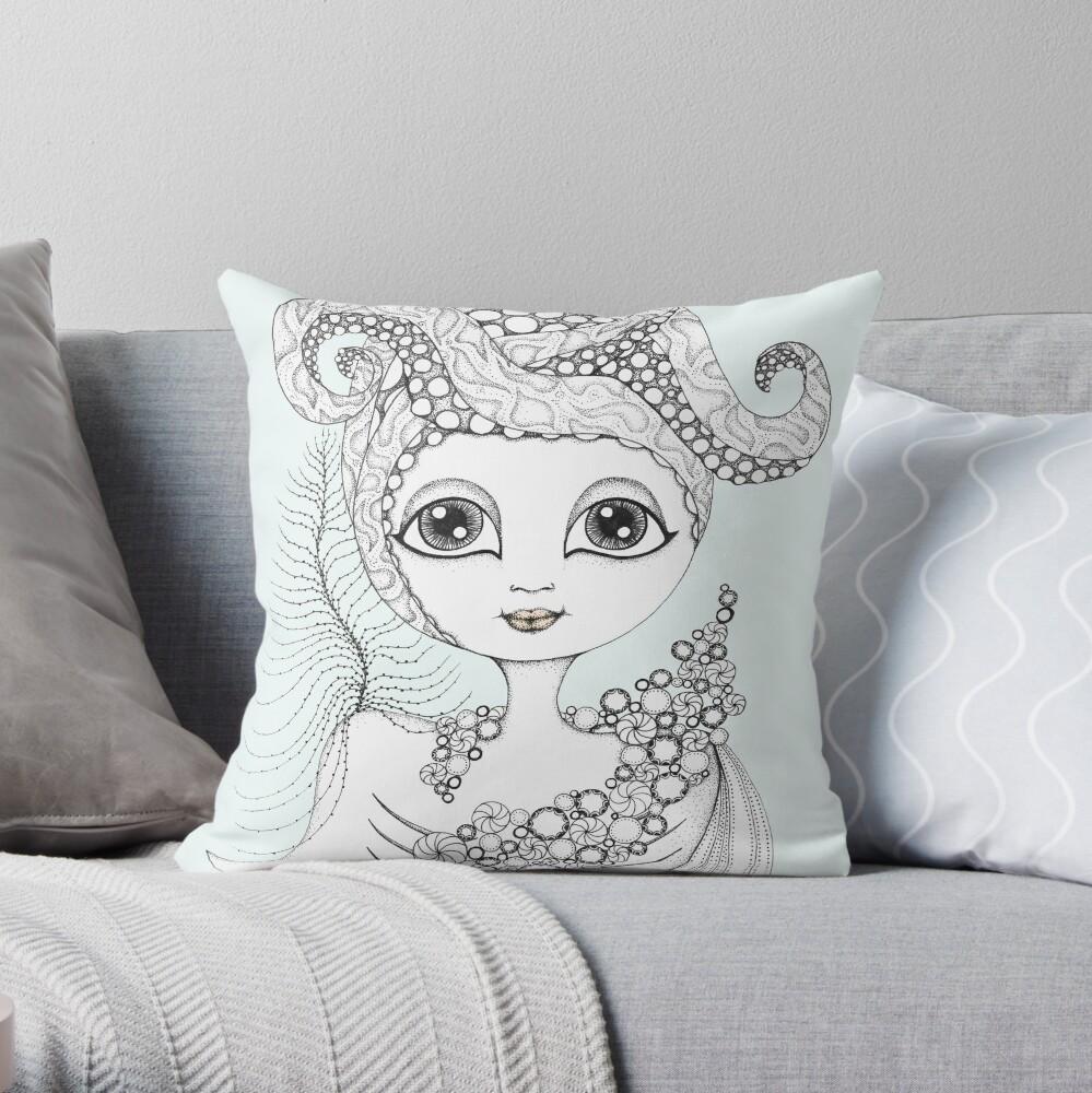 Calamari Queen Throw Pillow