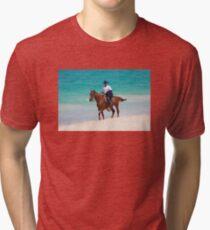 Horse rider on a Tropical Beach in Florida Tri-blend T-Shirt