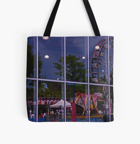 Reflections of the fairgrounds and rides All Over Print Tote Bag