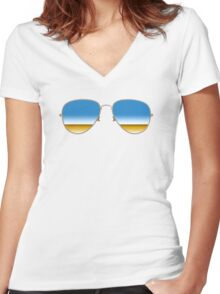 Mirrored Sunglasses Women's Fitted V-Neck T-Shirt