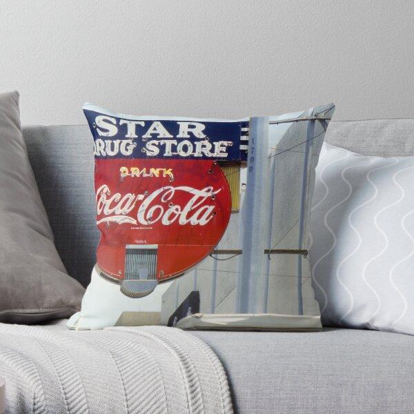 Coca-Cola Neon Sign, Galveston, Texas Throw Pillow