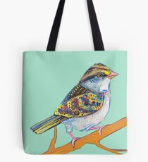 White-throated sparrow on blank background Tote Bag