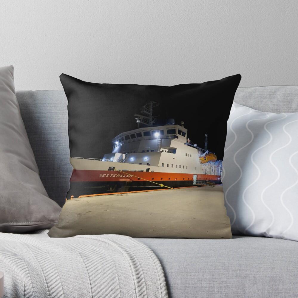 The Vesterålen at dock Throw Pillow
