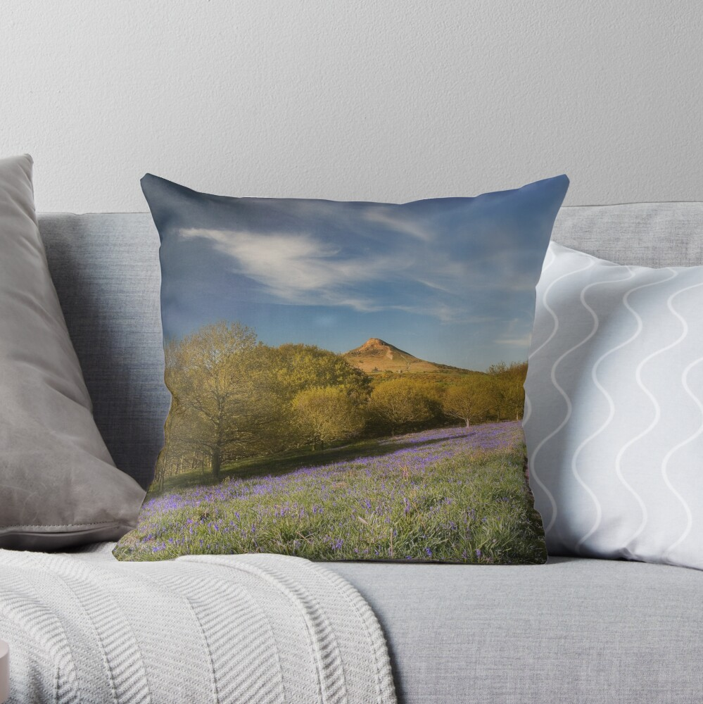 The Bluebells at Roseberry Topping Throw Pillow