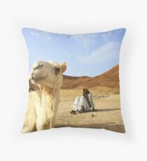 Camel and Bedouin boys, Wadi Gamal, Egypt Throw Pillow