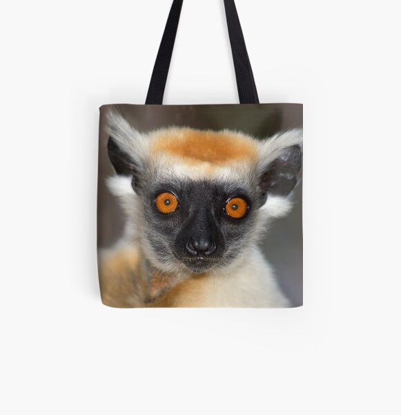Look into the eyes of the lemur All Over Print Tote Bag
