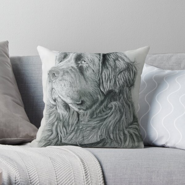 Newfie drawing donation Throw Pillow