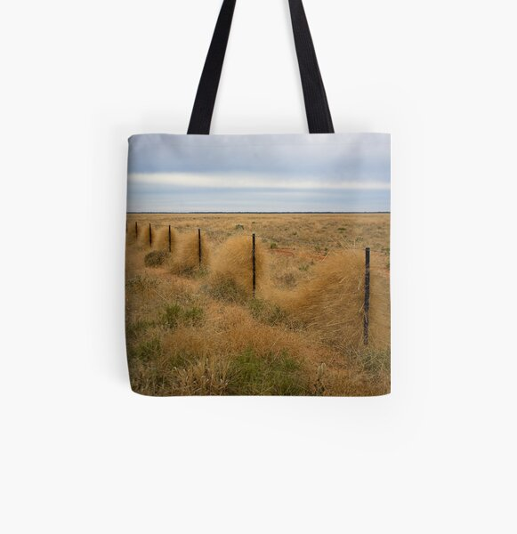 Grass along the fence line, Outback, NSW All Over Print Tote Bag