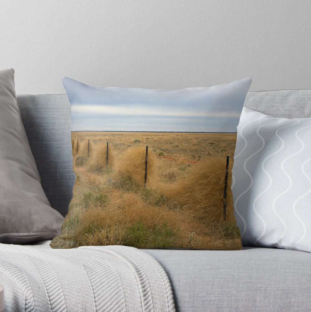 Grass along the fence line, Outback, NSW Throw Pillow