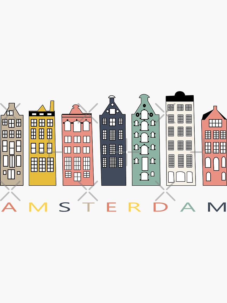 Amsterdam colorful canal houses by DinaDankersDesign