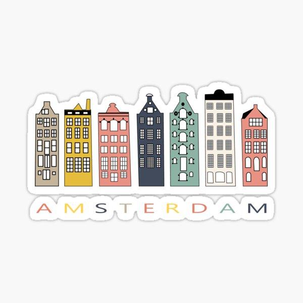 Casas coloridas del canal de Amsterdam Pegatina