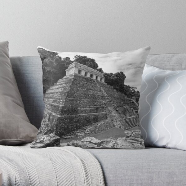 Temple of the Inscriptions - B&W Throw Pillow