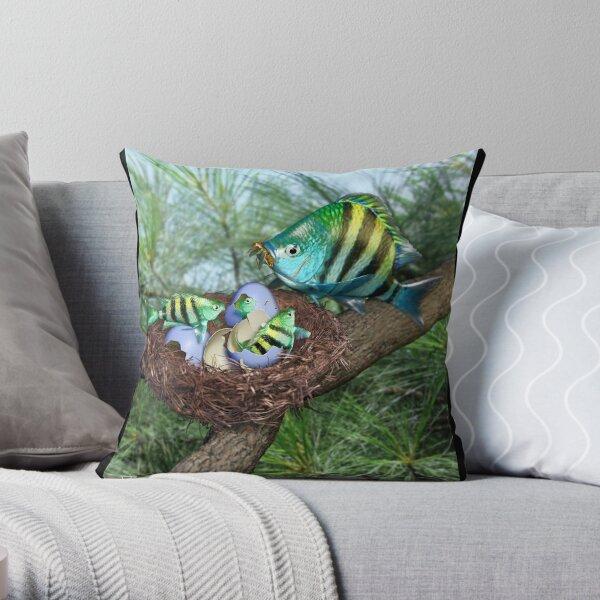 Ocean Invasion #3: First Breakfast Throw Pillow