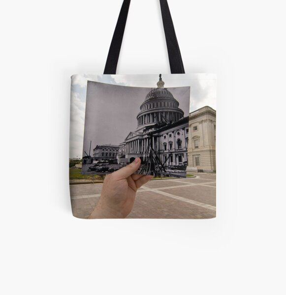 Looking Into the Past: US Capitol Under Construction, Washington, DC All Over Print Tote Bag