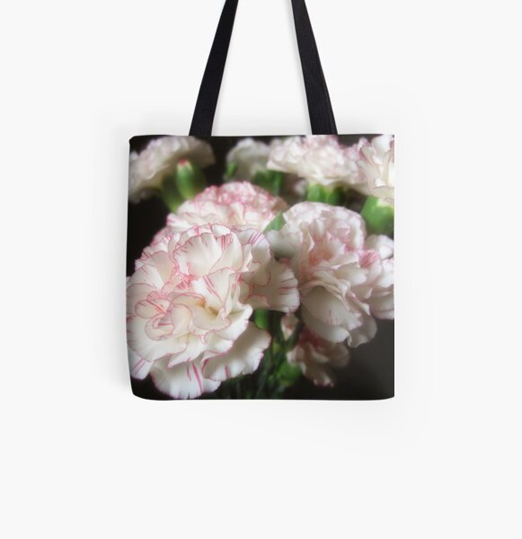 Almost White Carnations 5 All Over Print Tote Bag