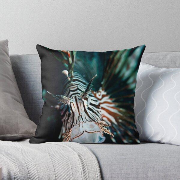 Yawning lionfish  Throw Pillow