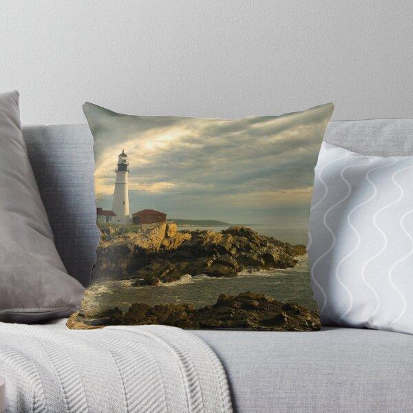 Sunrise at Portland Head Lighthouse Throw Pillow
