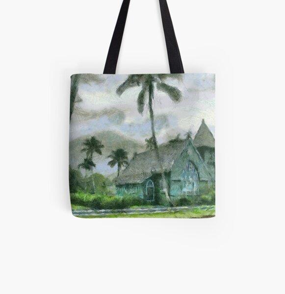 Hanalei Church, Kauai All Over Print Tote Bag