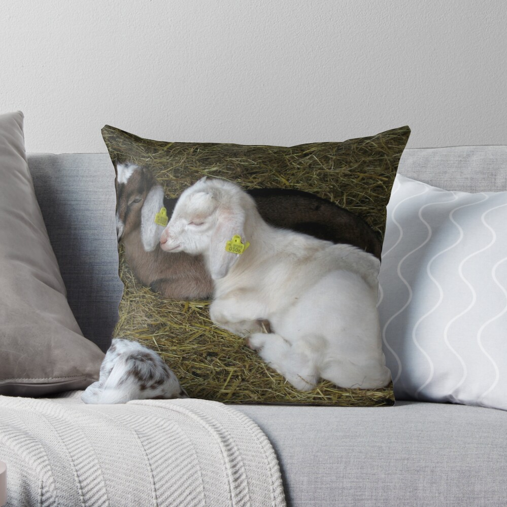 Two young goats Throw Pillow