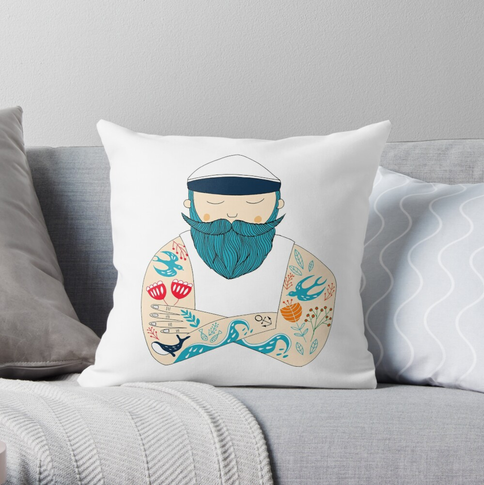 sailor with tattoo flowers and whale. A gift from the coast Throw Pillow