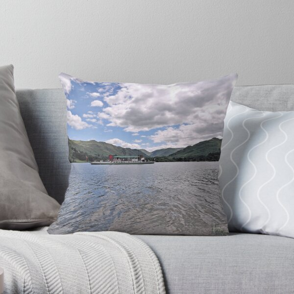Lake Ullswater and Paddle Steamer 0001 Throw Pillow