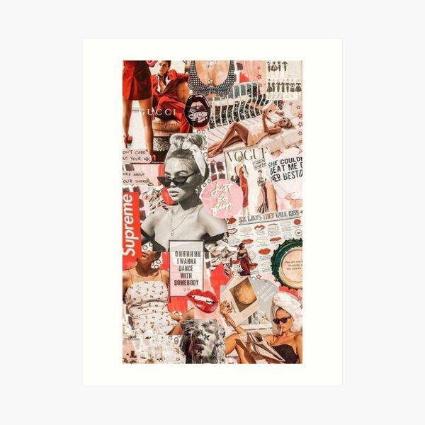 red retro collage Art Print