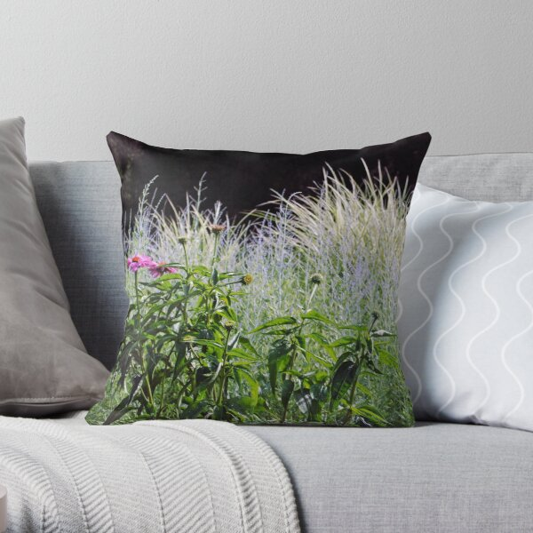 Purple and Silver Garden Throw Pillow