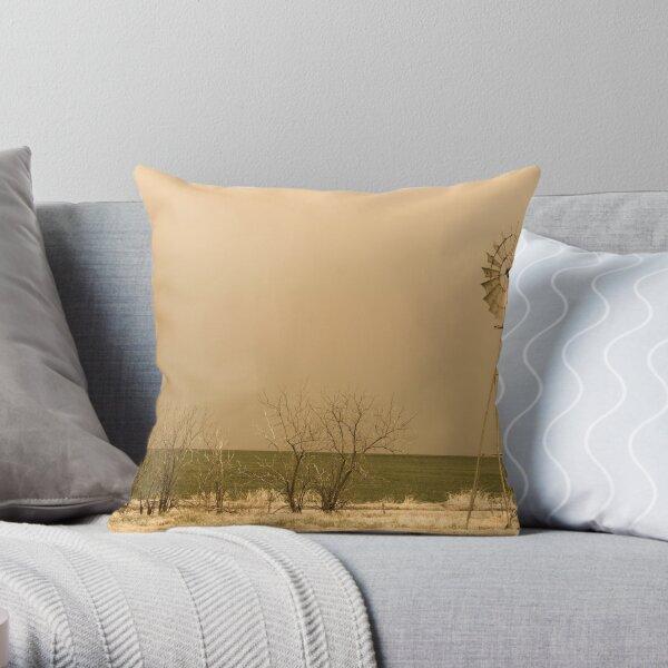 Kansas Windmill in Sepia Throw Pillow
