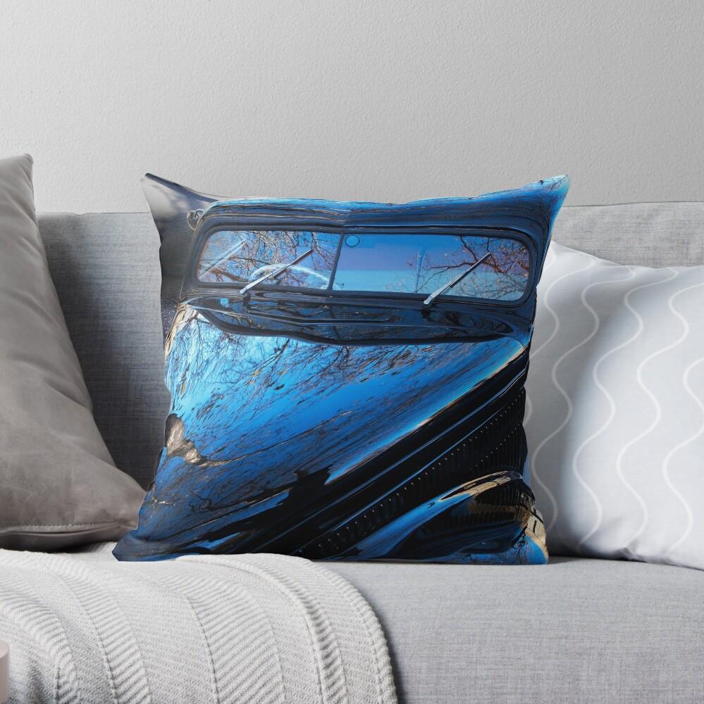 Spooky Custom Van in Winter light Throw Pillow