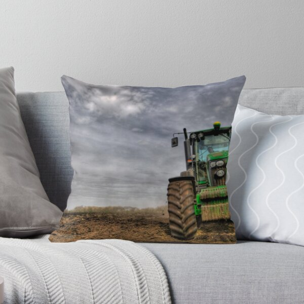 Tractor Ploughing Throw Pillow