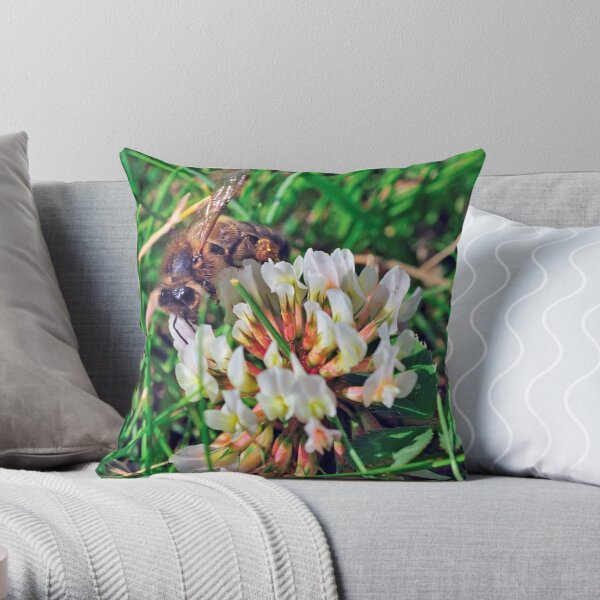 Bee On Flower 0027 Throw Pillow