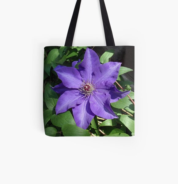 purple star with stripe All Over Print Tote Bag