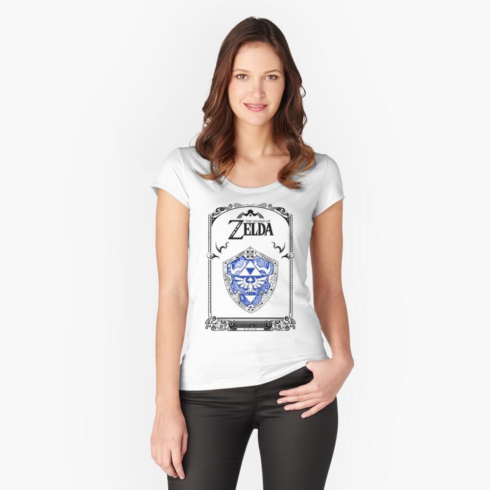 Zelda legend - Link Shield Doodle Camiseta entallada de cuello ancho