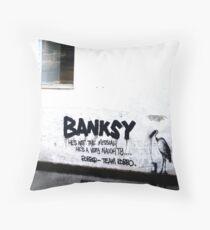 Banksy vs. TEAM ROBB☮ Throw Pillow