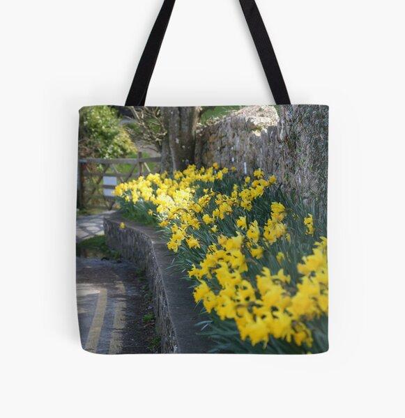 lane of daffodils All Over Print Tote Bag