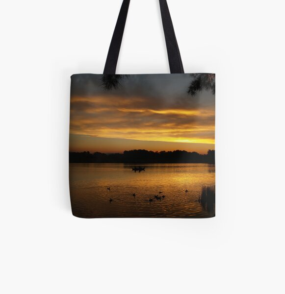 End Of Day On Lake Ginninderra - Canberra All Over Print Tote Bag