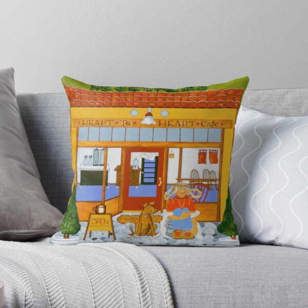 """Waiting At The Heart To Heart"" Greeting Throw Pillow"