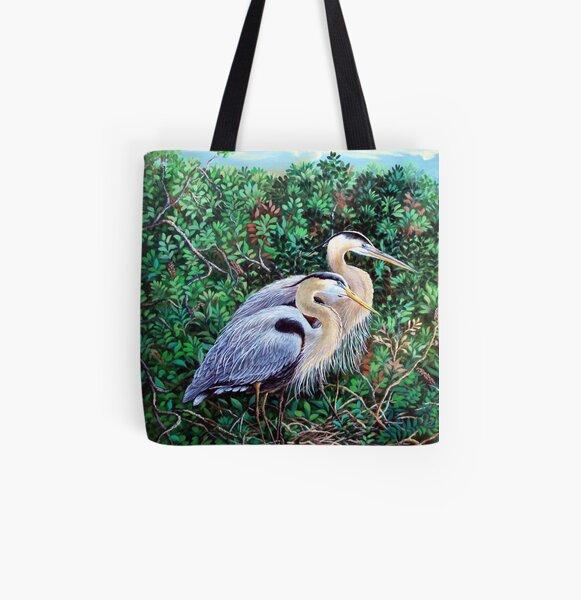 Morning Refuge-Great Blue Heron All Over Print Tote Bag