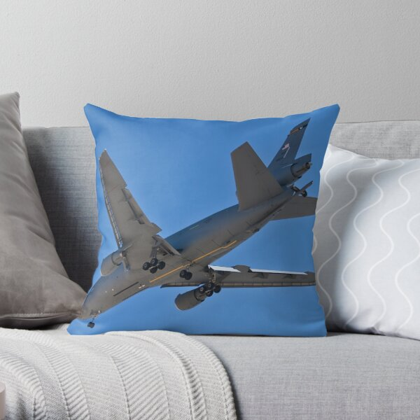 Flying gas station Throw Pillow