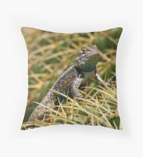 Clark's spiny lizard on a golden barrel cactus Throw Pillow